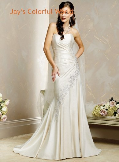 Sheath Scoop Neckline Strapless Appliques Beading Wedding Dress Bridal Gown