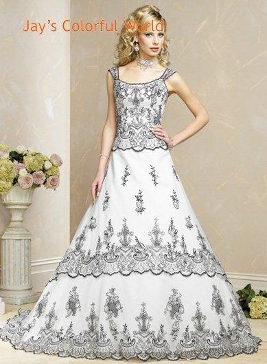 White and Black Detachable Strap Appliques Wedding Dress Bridal Gown