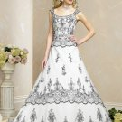 White and Black Detachable Strap Appliques Wedding Dress Bridal Gown