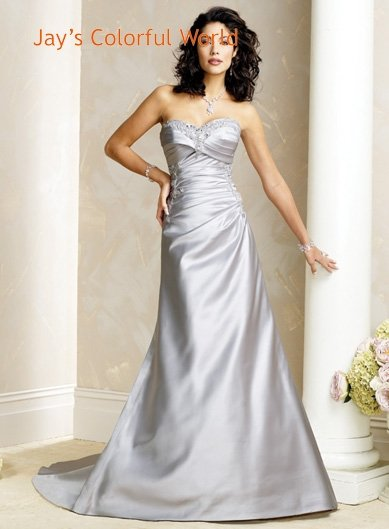 A-line V-neckline Strapless Beading Wedding Dress Bridal Gown