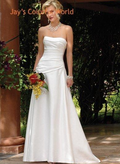 A-line Scoop Neckline Strapless Wedding Dress Bridal Gown