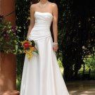 A-line Scoop Neckline Strapless Wedding Dress Bridal Gown