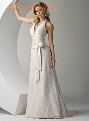 Halter Strap Lace Beading Wedding Dress Bridal Gown