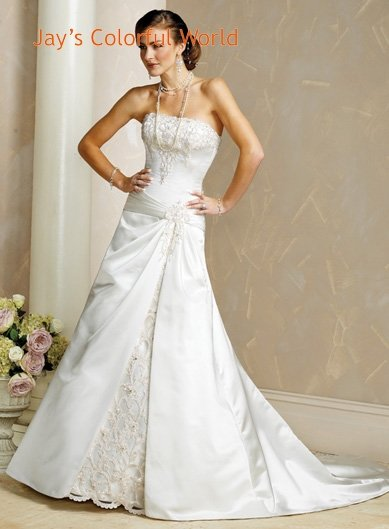 A-line Straight Neckline Strapless Embroidery  Wedding Dress Bridal Gown