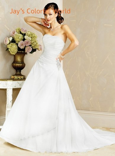 A-line Strapless Lace up Chiffon Wedding Dress Bridal Gown