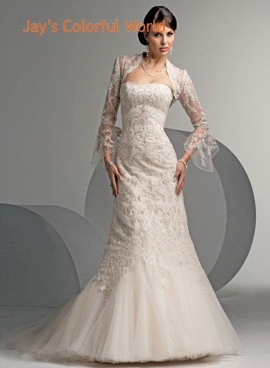 Mermaid Strapless Lace and Appliques Jacket  Wedding Dress Bridal Gown