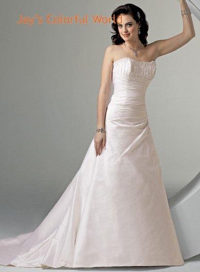 A-line Scoop Neckline Strapless Beading Taffeta Wedding Dress Bridal Gown