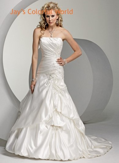 Straight Neckline Strapless Appliques Beading Stretch Satin Wedding Dress Bridal Gown