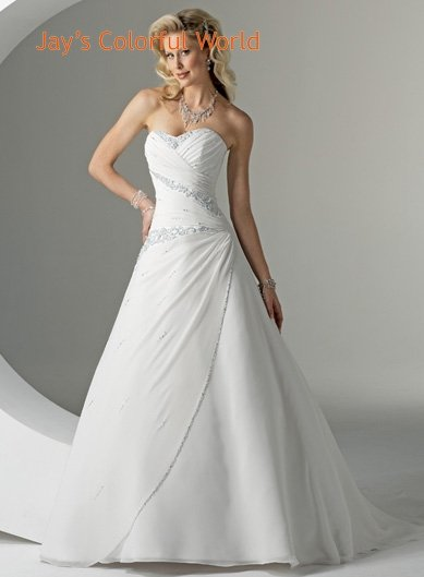 A-line Sweetheart Neckline Strapless Chiffon Wedding Dress Bridal Gown