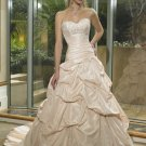 Sweetheart Neckline Strapless Pick-up Appliques Beading Wedding Dress Bridal Gown