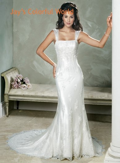 Detachable Strap Mermaid Appliques Beading Wedding Dress Bridal Gown