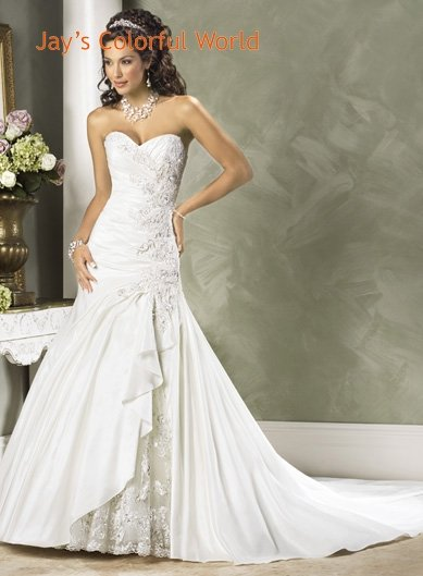 V-neckline Strapless Appliques Beading Taffeta Wedding Dress Bridal Gown