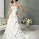 A-line Straight Neckline Strapless Wedding Dress Bridal Gown