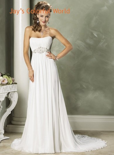 White Scoop Neckline Strapless Beading Chiffon Wedding Dress Bridal Gown