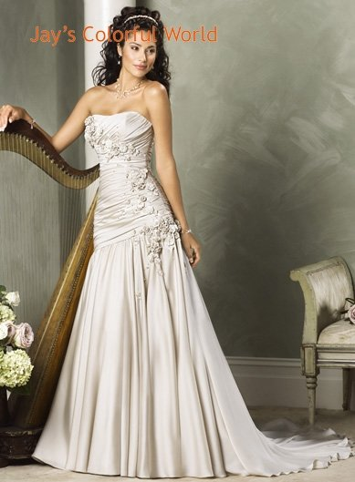 Scoop Neckline Strapless  Wedding Dress Bridal Gown