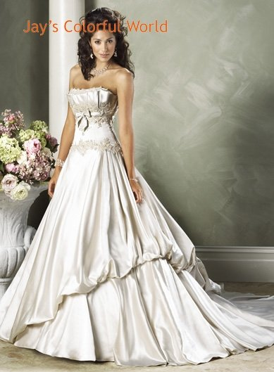Scoop Neckline Strapless Appliques Beading  Wedding Dress Bridal Gown