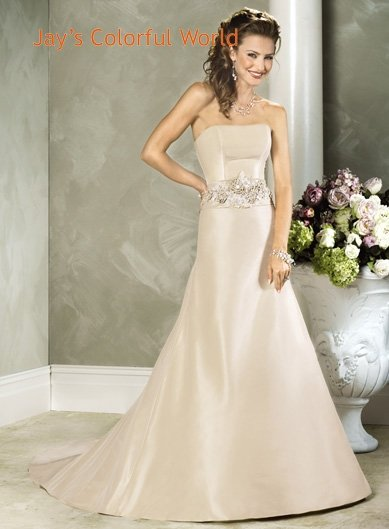 Champagne A-line Straight Neckline Strapless Appliques Beading  Wedding Dress Bridal Gown