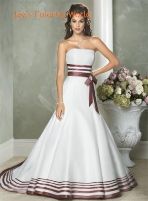 Fashion A-line Straight Neckline Strapless Wedding Dress Bridal Gown