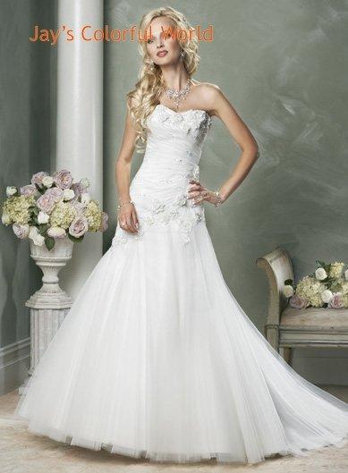 A-line Sweetheart Neckline Appliques Flower Tuller Wedding Dress Bridal Gown