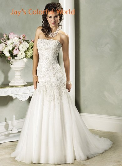 Strapless Appliques Beading Tuller Custom made Wedding Dress Bridal Gown