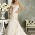 Mermaid Scoop Neckline Strapless Beading Custom made Wedding Dress Bridal Gown