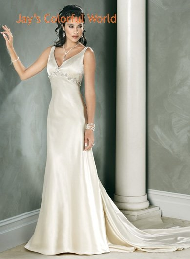 Sexy Deep V-neckline Beading Custom made Wedding Dress Bridal Gown