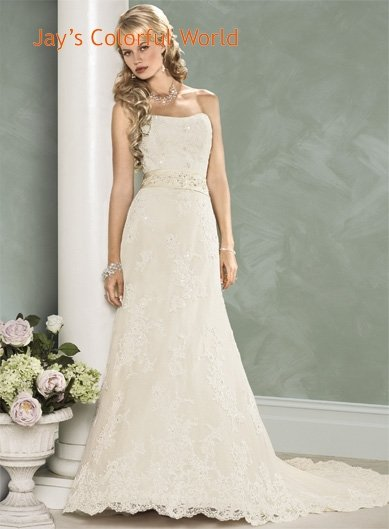 Scoop Neckline Strapless Appliques Custom made Wedding Dress Bridal Gown