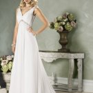 V-neckline Backless Beading Custom made Wedding Dress Bridal Gown