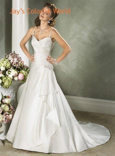 Custom made Spaghetti Strap Taffeta Wedding Dress Bridal Gown
