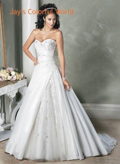 Custom made V-neckline Strapless Embroidery Beading Wedding Dress Bridal Gown