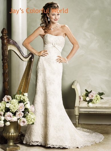 Custom made Lace Strapless Wedding Dress Bridal Gown