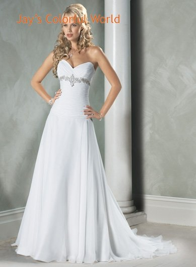 Custom made V-neckline Strapless Beading Chiffon Wedding Dress Bridal Gown