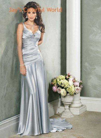 Custom made Sexy V-neckline Satin Wedding Dress Bridal Gown