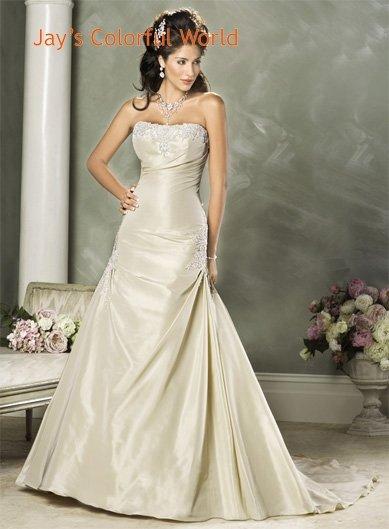 Custom made Gold A-line Appliques Taffeta Wedding Dress Bridal Gown