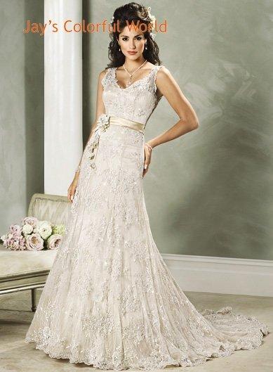 Custom made V-neckline Lace Beading Wedding Dress Bridal Gown