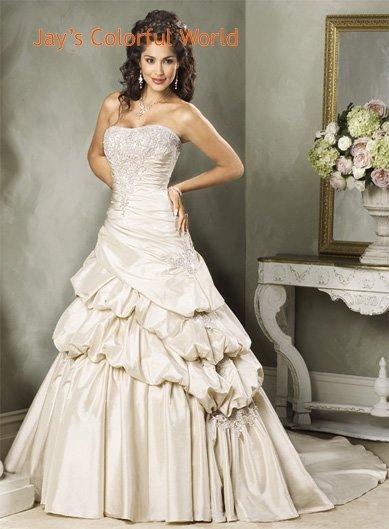 Custom made Scoop Neckline Strapless Beading Train Wedding Dress Bridal Gown