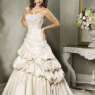 Custom made Scoop Neckline Strapless Beading Train Wedding Dress Bridal Gown