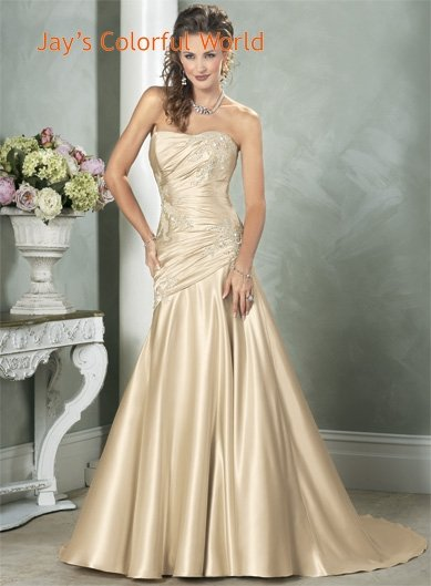 2011 Scoop Neckline Strapless Appliques Beading Beading Satin Wedding Dress Bridal Gown