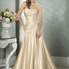 2011 Scoop Neckline Strapless Appliques Beading Beading Satin Wedding Dress Bridal Gown