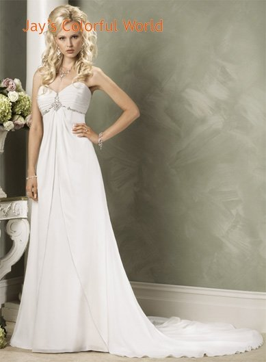 A-line V-neckline Strapless Chiffon Custom made  Wedding Dress Bridal Gown