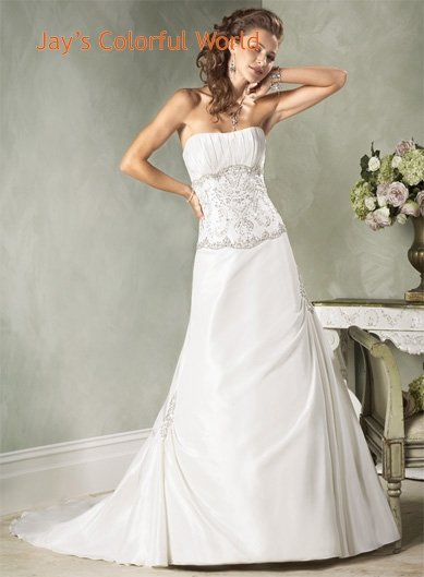 Scoop Neckline Beading Custom made  Wedding Dress Bridal Gown