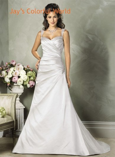 Sweetheart Neckline Two Shoulder Lace up Taffeta Custom made  Wedding Dress Bridal Gown