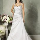 Sweetheart Neckline Two Shoulder Lace up Taffeta Custom made  Wedding Dress Bridal Gown