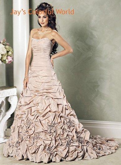 Pick up Scoop Neckline Strapless Lace up  Taffeta Custom made  Wedding Dress Bridal Gown