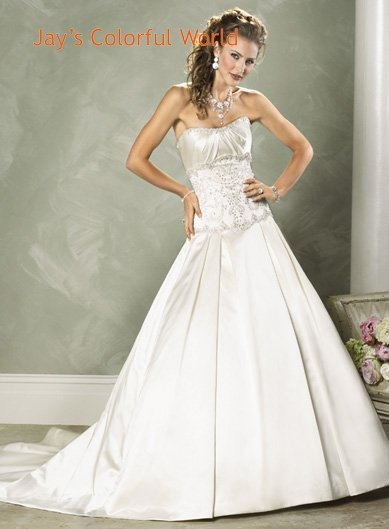 A-line Scoop Neckline Strapless Beading Taffeta Custom made  Wedding Dress Bridal Gown