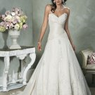 V-neckline Strapless Appliques Beading Taffeta Custom made  Wedding Dress Bridal Gown