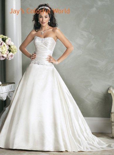 Ball Scoop Neckline Strapless Beading Taffeta Custom made Wedding Dress Bridal Gown