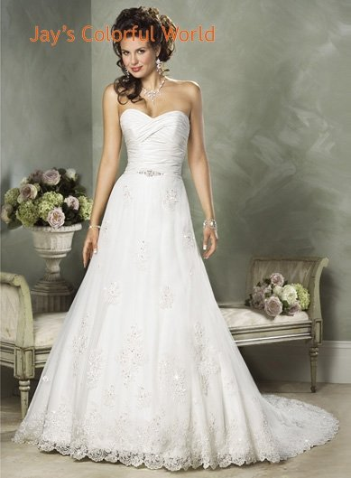 A-line Sweetheart Neckline Strapless Appliques Beading Custom made Wedding Dress Bridal Gown