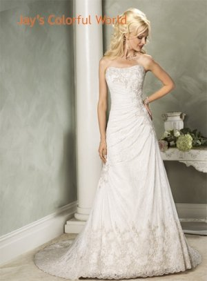 A-line Scoop Neckline Strapless Appliques Custom made Wedding Dress Bridal Gown