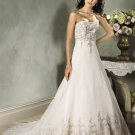 A-line Scoop Neckline Strapless Appliques and Beads Custom made Wedding Dress Bridal Gown